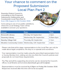 NEWS: Daventry town residents asked to comment on the Proposed Submission Local Plan Part 2 by DDC
