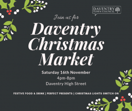 Shop, snack and see the lights at Daventry Christmas Market