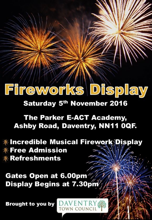 daventry town fireworks 2016 daventry town council